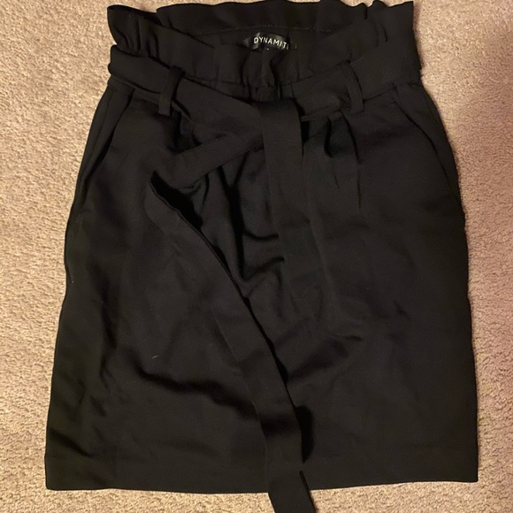 Dynamite Black Paperbag Skirt